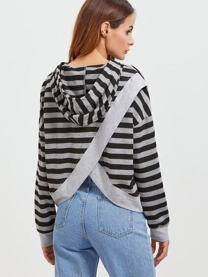 Black And Grey Striped Split Back Sweatshirt