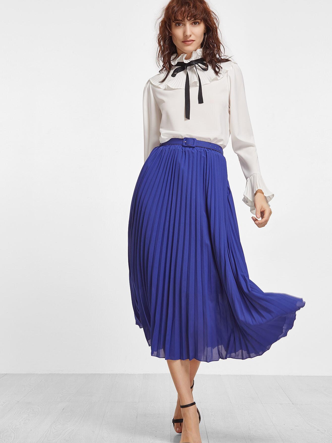 royal blue belted pleated chiffon skirt