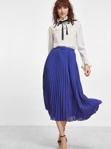 Falda plisada de chifón con cinturón - azul