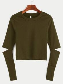 Army Green Elbow Cut Out Crop T-shirt