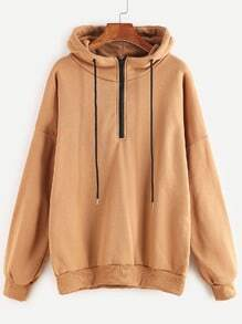 Khaki Dropped Shoulder Seam Zip Detail Drawstring Hoodie
