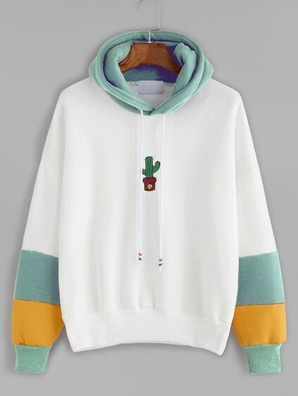 Contrast Cactus Embroidery Drawstring Hooded Sweatshirt