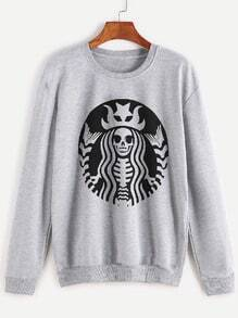 Grey Printed Casual Sweatshirt