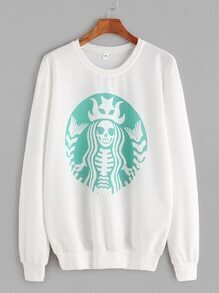 White Printed Casual Sweatshirt