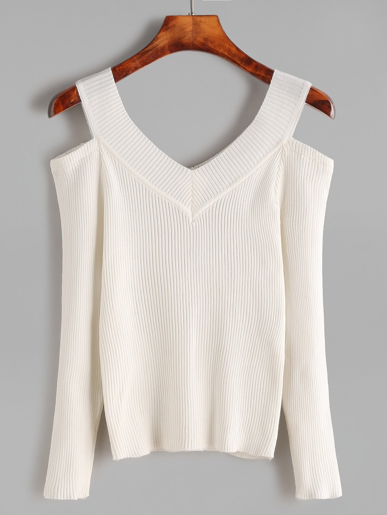 Ivory Cut Out V Neck Ribbed Knitwear