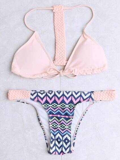 Collection de bikini imprimé avec sangle triangle -rose