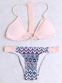 Pink Printed Braided Strap Triangle Bikini Set