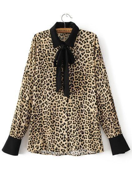 Leopard Blouse With Black Trim 28