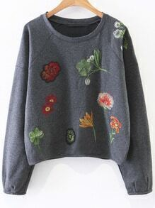 Dark Grey Floral Embroidery Casual Sweatshirt