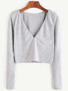 Heather Grey V Neck Crop T-shirt