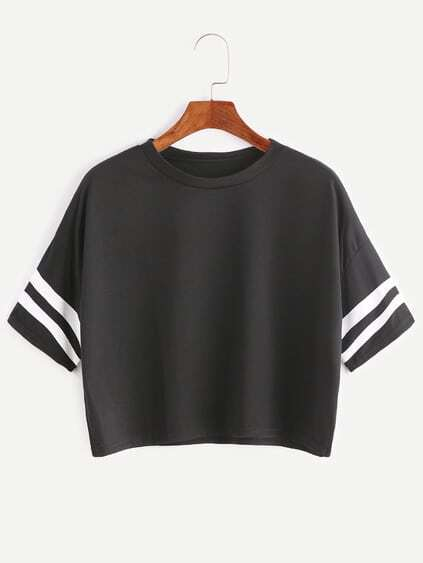 Black Dropped Shoulder Seam Varsity Striped Crop T-shirt