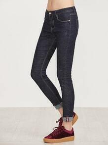 Dark Blue Rolled Hem Skinny Jeans
