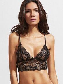 Top bikini con tirante fino con encaje - negro