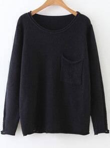 Jersey con diseño desgastado y bolsillo - negro