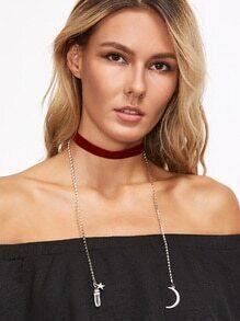 Burgundy Velvet Choker Necklace With Charm Pendant