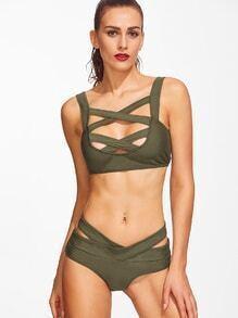 Army Green Criss Cross Cutout Bikini Set