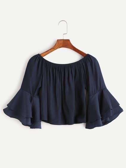 Navy Boat Neck Bell Sleeve Crop Top
