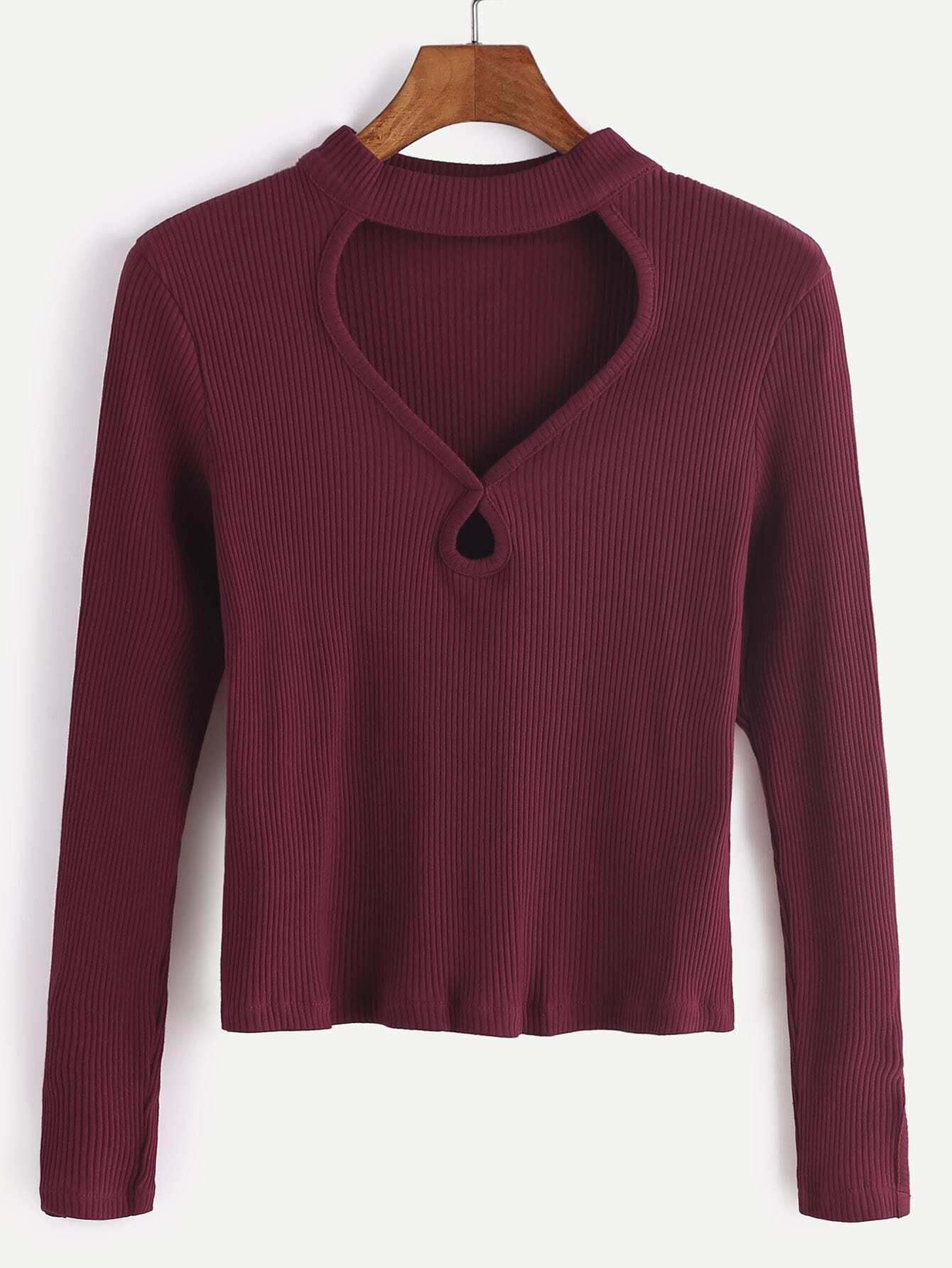 Burgundy Cut Out Front Ribbed T-shirt