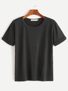 Schwarz Rolled Sleeve Basic T-Shirt