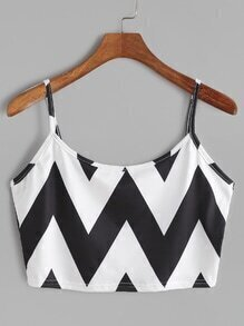 Black White Chevron Print Crop Cami Top