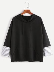 Black Contrast Striped Cuff Drawstring Pocket Hoodie