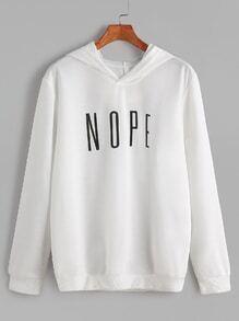 Sweat-shirt à capuche imprimé lettre -blanc