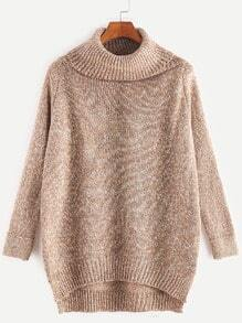 Khaki Roll Neck Dip Hem Sweater