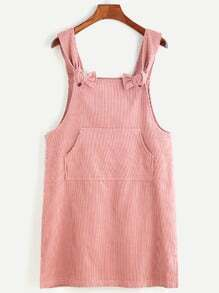 Pink Corduroy Slit Side Overall Dress With Pocket