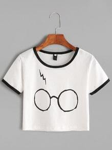 White Contrast Trim Glasses Print T-shirt