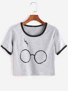 Heather Grey Contrast Trim Glasses Print T-shirt