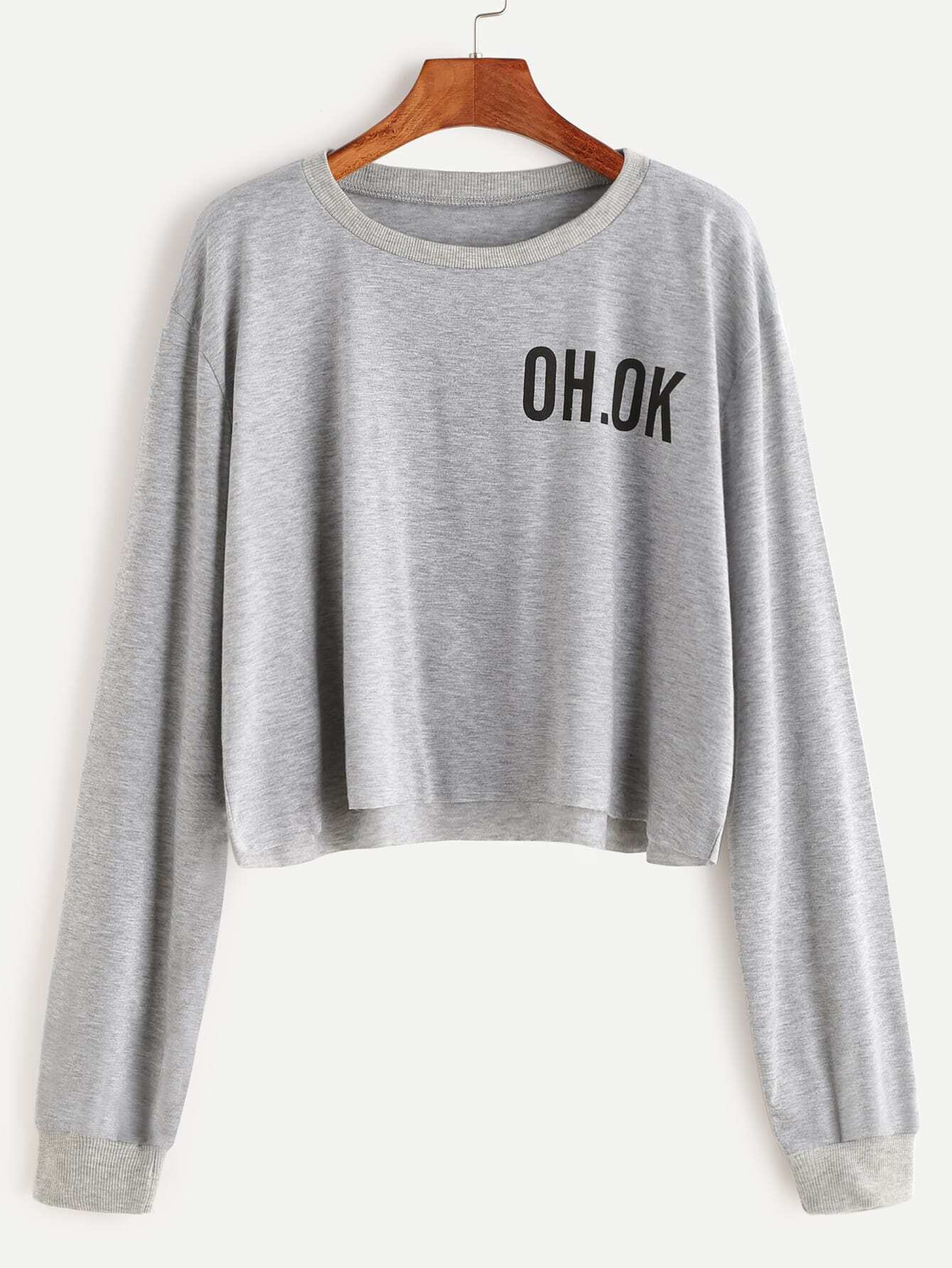 Grey Drop Shoulder Letter Print Raw Hem Crop Sweatshirt
