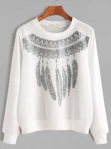 White Ribbed Trim Tribal Print Sweatshirt