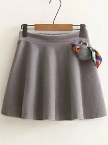 Jupe ligne A taille élastique avec pompom -gris