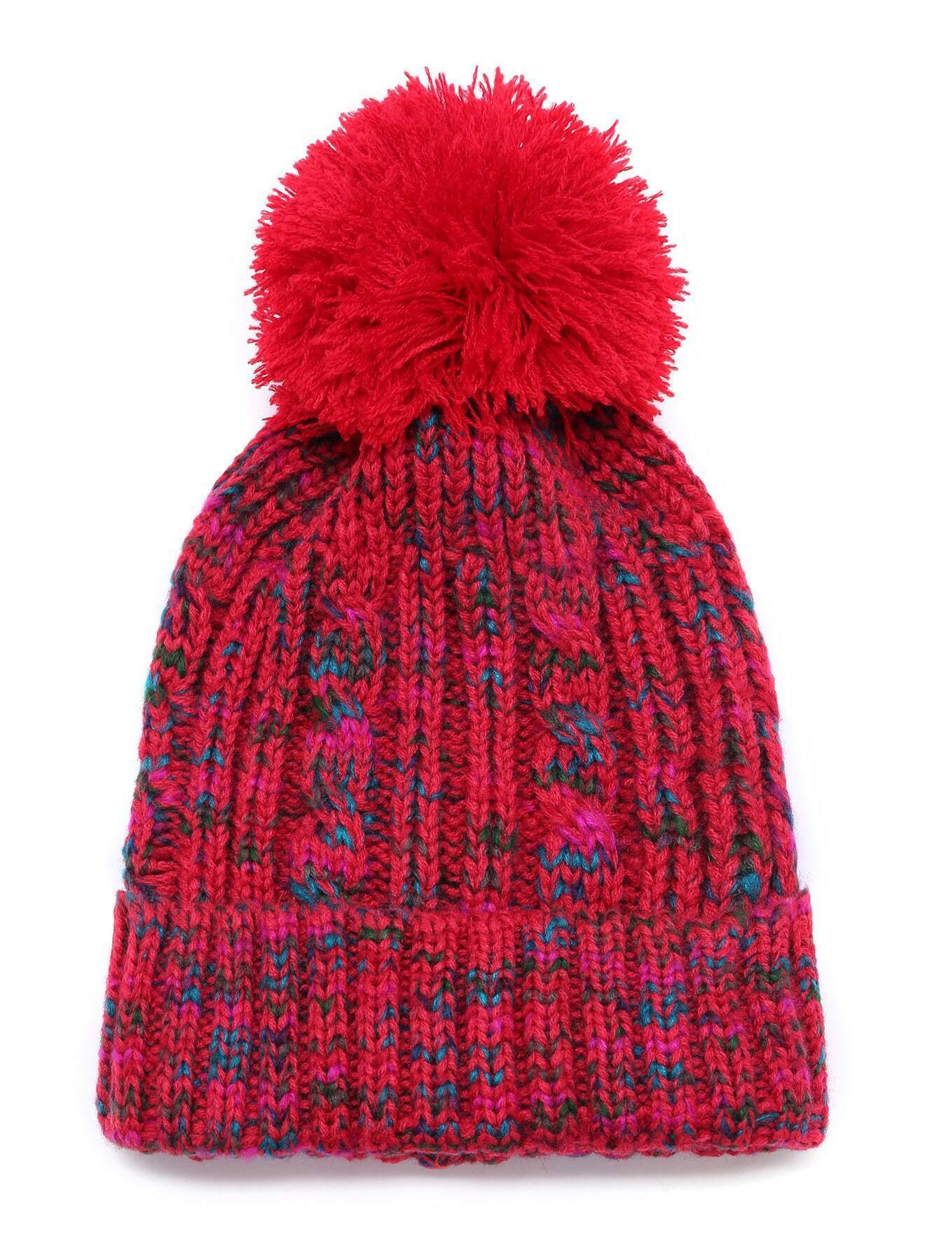 Burgundy Ribbed Knit Bobble Hat With Pom