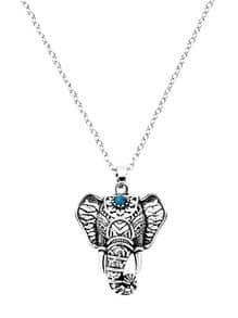 Collar con colgante de elefante - plateado