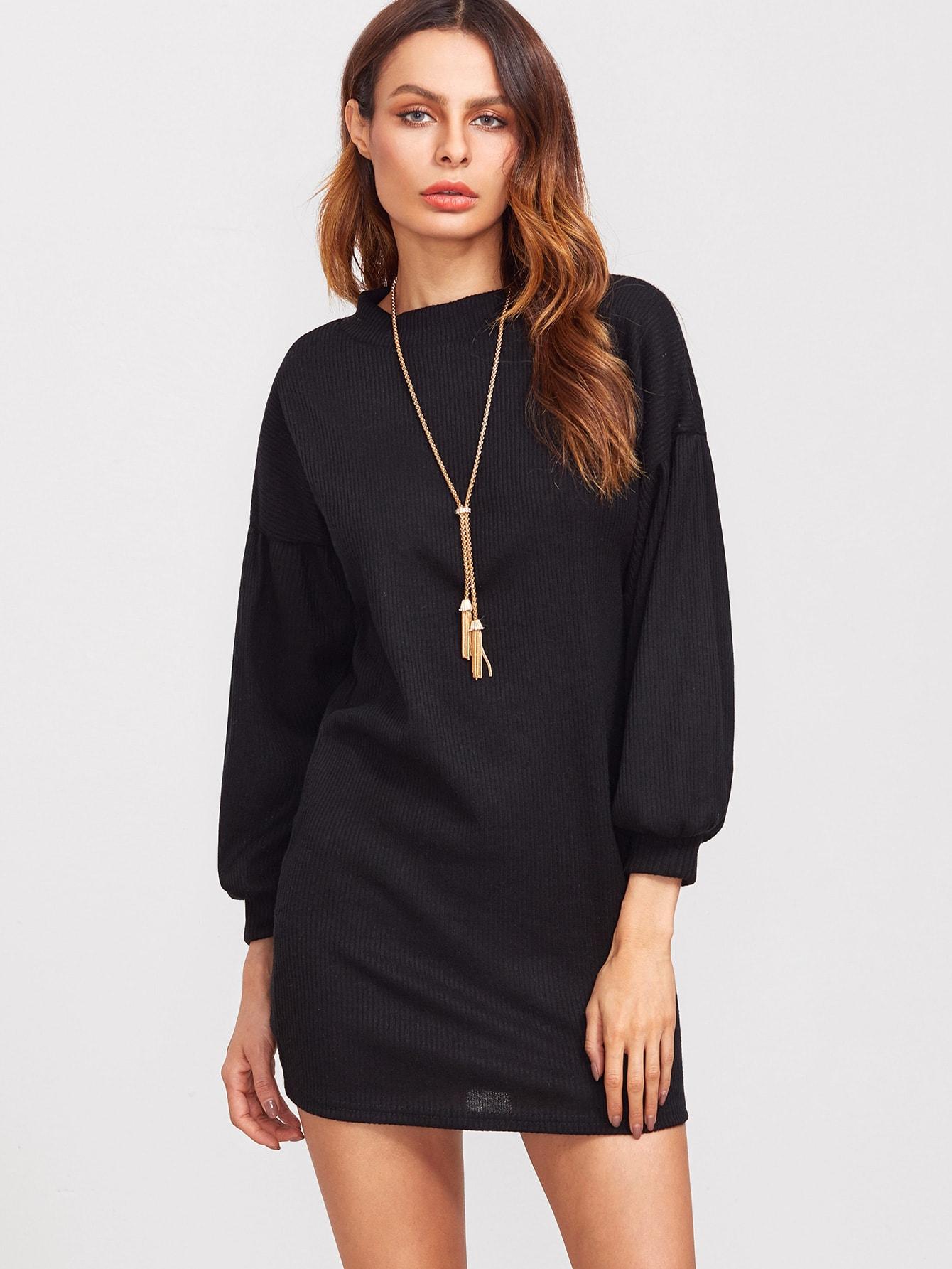 Black Dropped Shoulder Seam Lantern Sleeve Sweater Dress