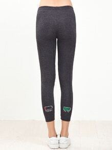 Deep Grey Battery Embroidery Skinny Leggings