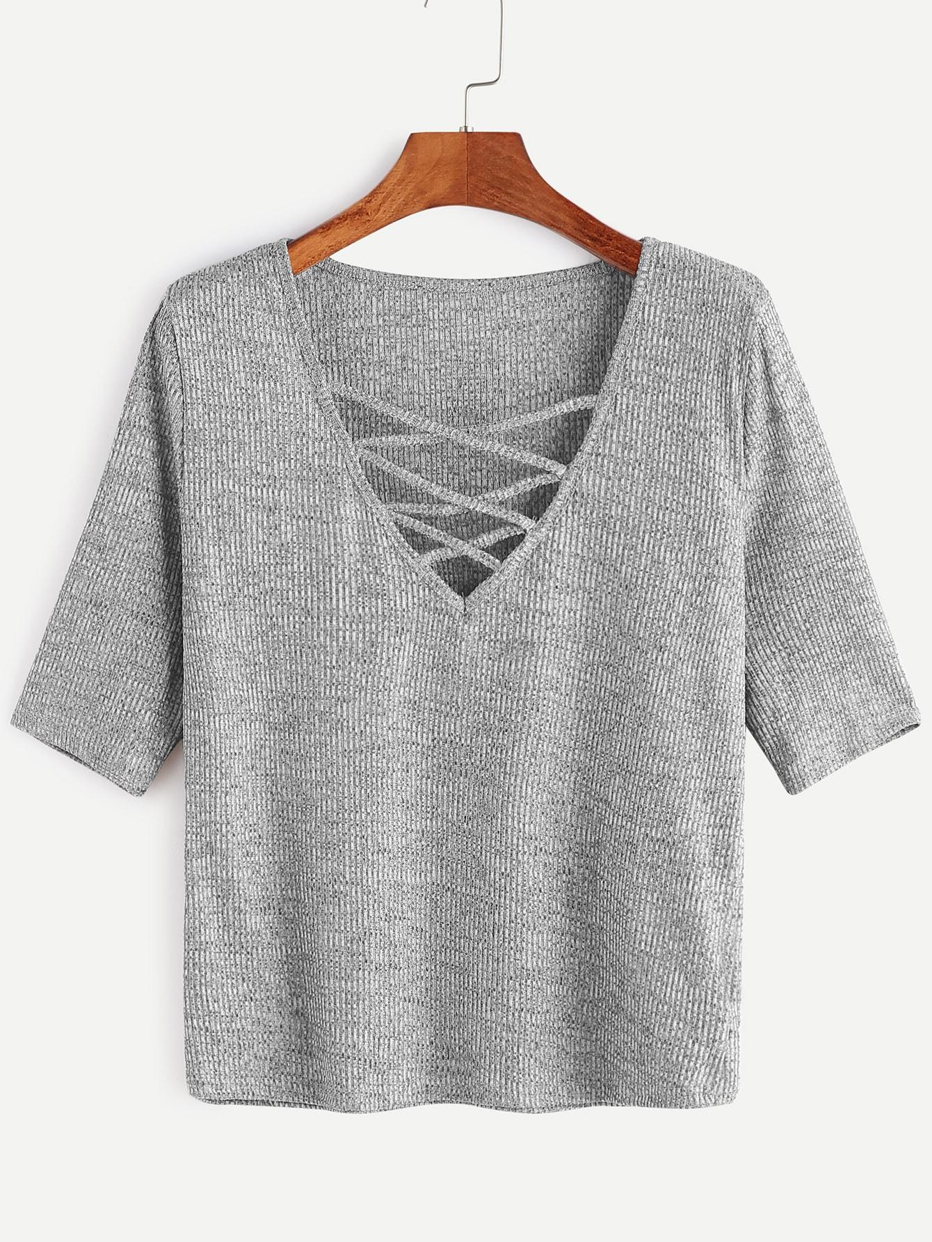 Grey Criss Cross Deep V Neck Ribbed Knit T-shirt
