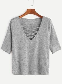 Grey Criss Cross Deep V Neck Ribbed Knit T-shirt