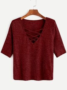 Burgundy Criss Cross Deep V Neck Ribbed Knit T-shirt