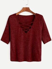 T-shirt croisé à col en V à nervures tricot -bordeaux rouge