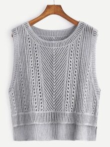 Grey Dip Hem Hollow Out Sleeveless Top