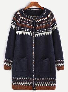 Navy Geometric Pattern Raglan Sleeve Pockets Sweater Coat