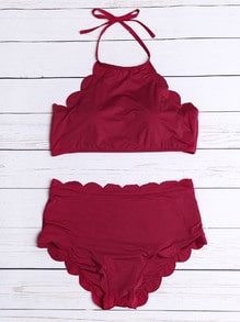 Burgundy Scalloped Trim Halter Bikini Set