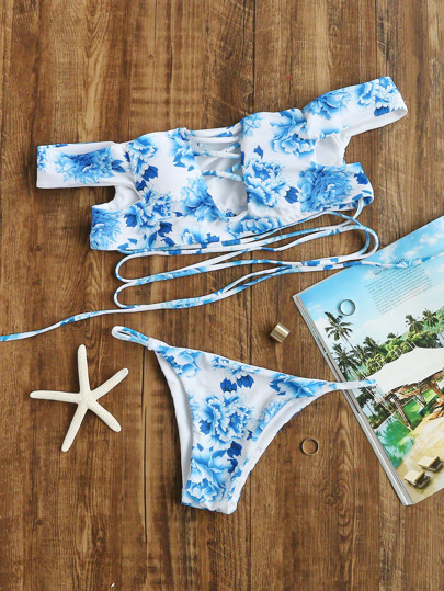 Blue Floral Print Shoulder Criss Cross Bikini Set