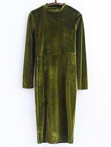 Vestido de terciopelo con cuello alto y abertura - verde militar