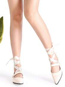 Buy Beige Point Toe Mary Jane Strappy Flats