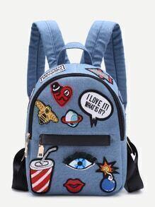 Light Blue Zip Front Cartoon Patch Mini Backpack