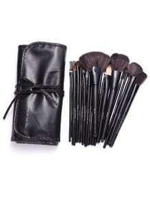 Set de brochas de maquillaje 24PCS con bolsa - negro