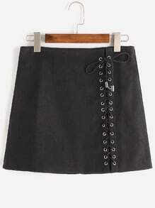Black Lace Up Front Zipper Back Skirt